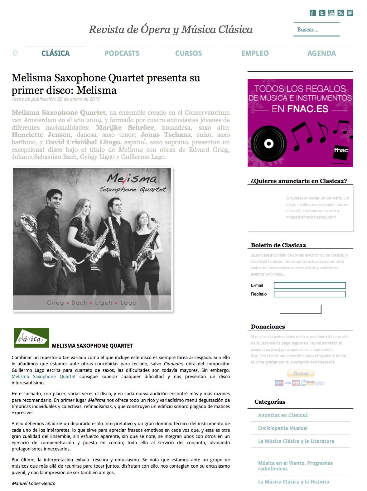 Melisma Saxophone Quartet presenta su primer disco: Melisma - Clásica2 - Revista de música clásica y ópera.